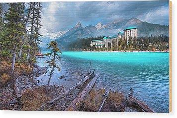 Dreamy Chateau Lake Louise Wood Print by John Poon