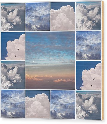 Wood Print featuring the photograph Dreamy Clouds Collage by Jenny Rainbow