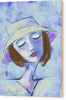 Wood Print featuring the digital art Dreamy Jeanne by Elaine Lanoue