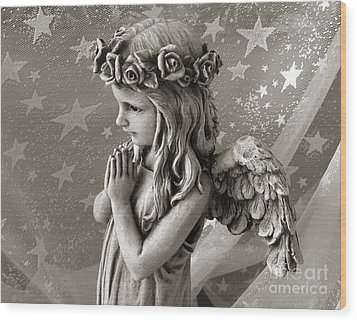 Dreamy Little Girl Angel With Praying Hands  Wood Print by Kathy Fornal