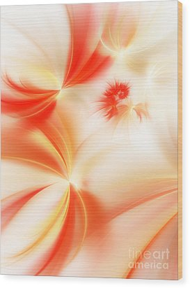 Wood Print featuring the digital art Dreamy Orange And Creamy Abstract by Andee Design