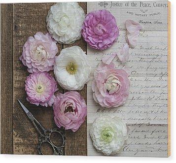 Wood Print featuring the photograph Dreamy Ranunculus  by Kim Hojnacki