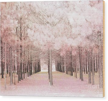 Wood Print featuring the photograph Dreamy Shabby Chic Pink Nature Pink Trees Woodlands - Pink Nature Nursery Prints Decor by Kathy Fornal
