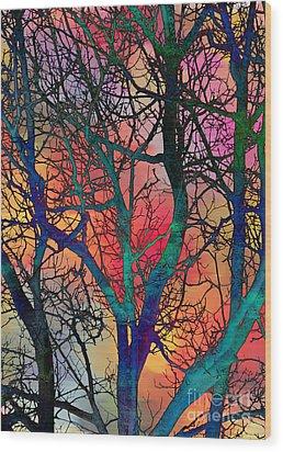 Wood Print featuring the digital art Dreamy Sunset by Klara Acel