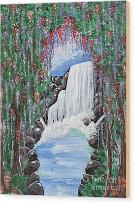Dreamy Waterfall Wood Print by Saranya Haridasan