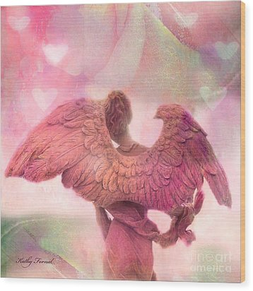 Dreamy Whimsical Pink Angel Wings With Hearts Wood Print by Kathy Fornal