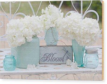 Dreamy White Hydrangeas - Shabby Chic White Hydrangeas In Aqua Blue Teal Mason Ball Jars Wood Print
