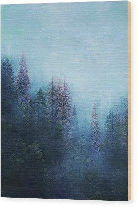 Wood Print featuring the digital art Dreamy Winter Forest by Klara Acel