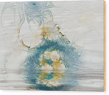 Dreamy World In Blue Wood Print by Deborah Benoit