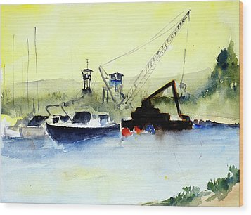 Dredging At Marin Yacht Club Wood Print
