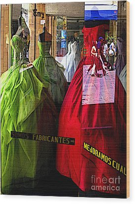 Dress Shop Passerbys Wood Print by Mexicolors Art Photography