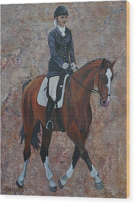 Dressage Wood Print by Cher Devereaux