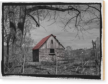 Dressed In Red Wood Print by Debra and Dave Vanderlaan