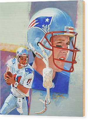 Wood Print featuring the painting Drew Bledsoe by Cliff Spohn