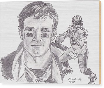 Wood Print featuring the drawing Drew Brees by Chris  DelVecchio