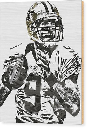 Drew Brees New Orleans Saints Pixel Art 1 Wood Print by Joe Hamilton