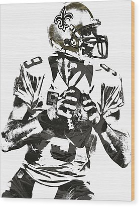 Drew Brees New Orleans Saints Pixel Art 2 Wood Print by Joe Hamilton