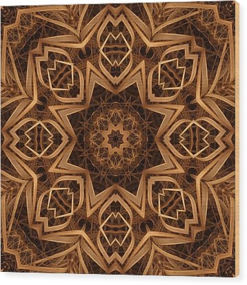 Dried Grass Mandala Wood Print by Lyle Hatch