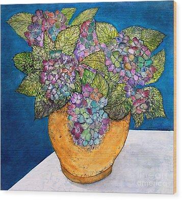 Dried Hydrangea Wood Print