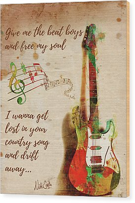 Wood Print featuring the digital art Drift Away Country by Nikki Marie Smith