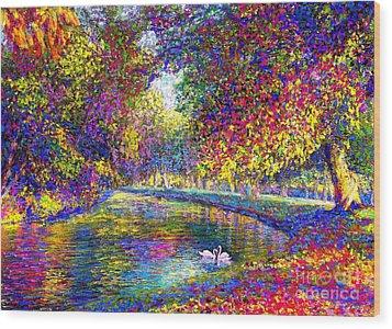 Drifting Beauties, Swans, Colorful Modern Impressionism Wood Print