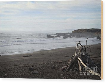 Driftwood And Moonstone Beach Wood Print by Linda Woods