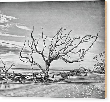 Wood Print featuring the photograph Driftwood Beach - Black And White by Kerri Farley