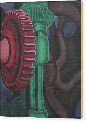 Wood Print featuring the painting Drill Press by Paul Amaranto
