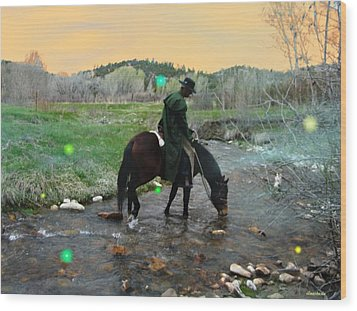 Wood Print featuring the photograph Drinking In The River Horseman Lit By Fireflies by Anastasia Savage Ealy