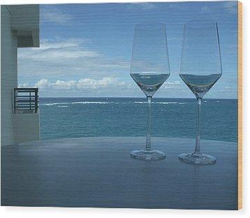 Drinks On The Terrace Wood Print by Anna Villarreal Garbis