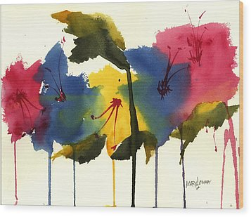 Drippy Flowers Wood Print by Mary Lomma