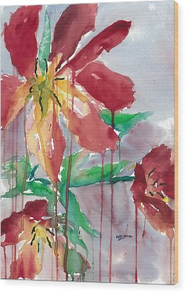 Drippy Tulips Wood Print by Mary Lomma