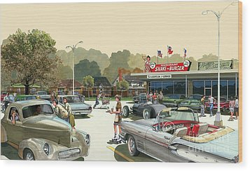 Wood Print featuring the painting Drive In Days by Michael Swanson