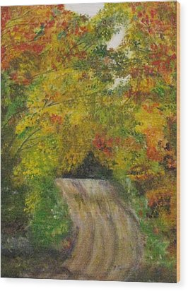 Wood Print featuring the painting Drive Into Fall by Trilby Cole