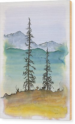 Drive To Eagle And Sketching On A Bumpy Road Wood Print by Carolyn Doe