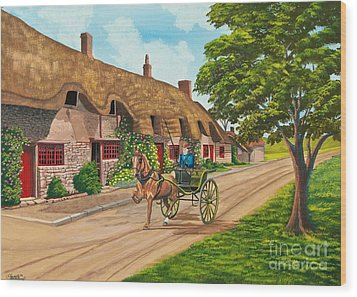 Driving A Jaunting Cart Wood Print by Charlotte Blanchard