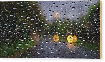 Driving Rain Wood Print