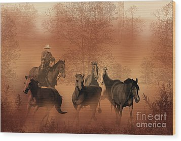 Driving The Herd Wood Print by Corey Ford