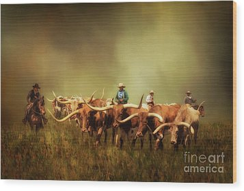 Driving The Herd Wood Print