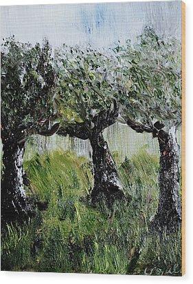 Wood Print featuring the painting Drizzle by Evelina Popilian