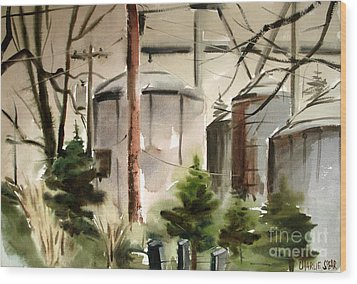 Wood Print featuring the painting Drizzle Mists Midst Furry Pines Plein Air by Charlie Spear