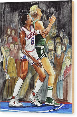 Dr.j Vs. Larry Bird Wood Print