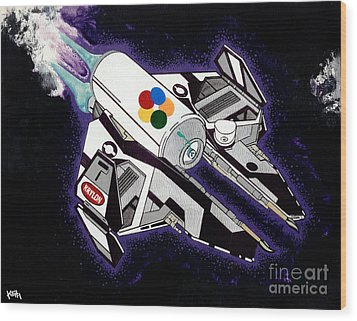 Drobot Space Fighter Wood Print by Turtle Caps