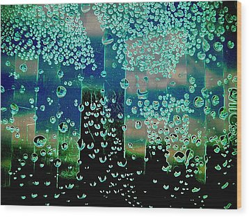 Drops Of Rain Wood Print by Shirley Sirois