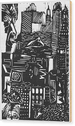 Drowning In Metropolis Wood Print by Darkest Artist