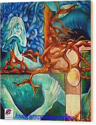 Wood Print featuring the painting Drowning Merperson by Carol Rashawnna Williams