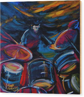 Drummer Craze Wood Print by Jeanette Jarmon
