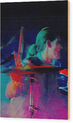 Drummer  Wood Print by Tommy Simpson