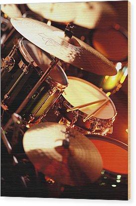 Drums Wood Print by Robert Ponzoni