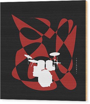 Drums In Black Strife Wood Print by David Bridburg